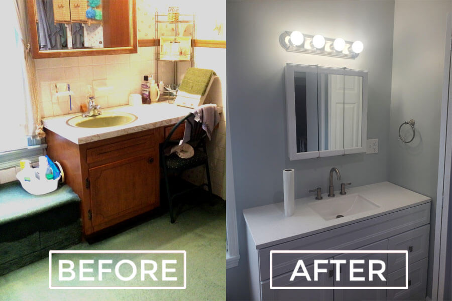 bathroom remodel 2 before and after